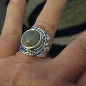 Stainless Steel Moonstone Jade Ring Size 6